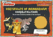 Lion Guard Certificate of Membership (Without Mark)