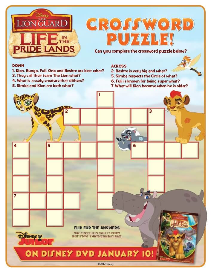Image Lion Guard Activity Sheet Crossword Puzzle Life In