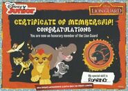 Lion Guard Certificate of Membership (With Mark)