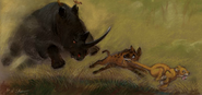Baasho, Simba and Her Rhino