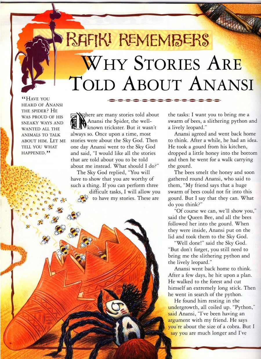 image about Printable Anansi Stories known as Why Studies Are Informed Around Anansi The Lion King Wiki