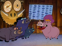 Sharla with the warthogs