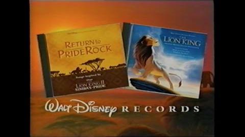 RETURN TO PRIDE ROCK SOUNDTRACK PROMO VHS 1998