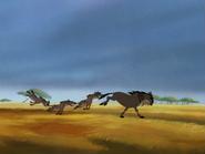CG hyenas & wildebeest