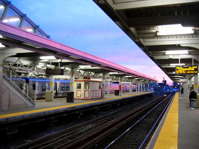 File:Jamaica station sunset, waiting.jpeg