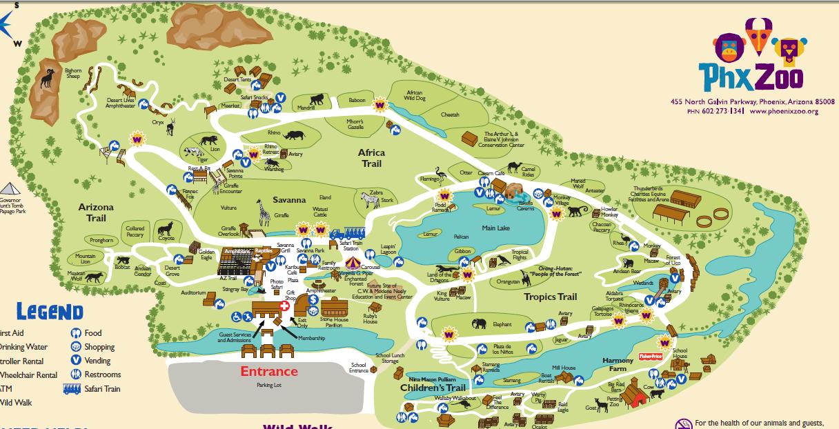 Phoenix Zoo Map Phoenix Zoo | List of Major Zoos in the U.S. Wiki | FANDOM powered
