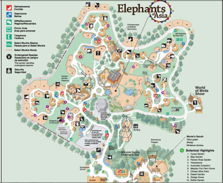 La Zoo Map Los Angeles Zoo | List of Major Zoos in the U.S. Wiki | FANDOM