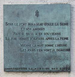 250px-Plaque Sous le pont Mirabeau coule la Seine, Paris 16