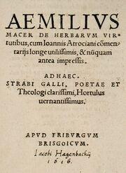 Macer Aemilius De virtutibus herbarum