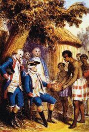 Tahitiens présentant des fruits à Bougainville et ses officiers.