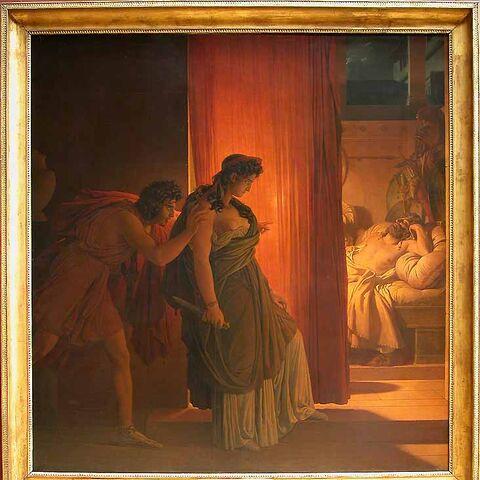 Baron Pierre-Narcisse GUÉRIN, <i>Clytemnestre hésitant avant de frapper Agamemnon endormi</i>  1817