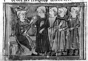 Quatre chevaliers devant le roi Arthur