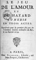 Marivaux 1730 Jeu de l'amour et du hasard