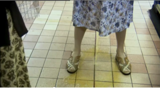 Girl pee on floor