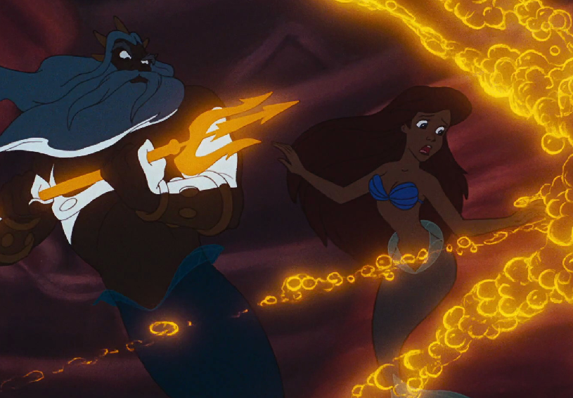 image king triton destroying ariel s treasures png the little