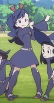 Mary stretching for broom relay event in ep 3