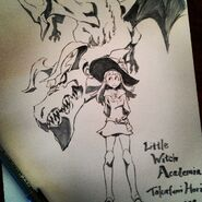 Artwork of Atsuko Kagari and the Briton Red Dragon made by Takafumi Hori (堀剛史) @porigoshi that was posted on his Instagram for Animazement 2014 LWA
