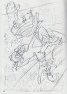 Messy pencil doodle of the 1st key-visual for Little Witch Academia The Enchanted Parade done by Yoh Yoshinari (吉成曜) from his artbook - The Art of Yoh Yoshinari Illustrations