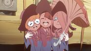 Akko Lotte Sucy giggles while covered with tomato LWA