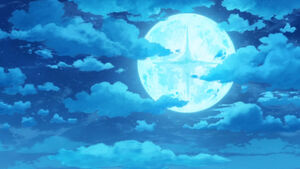 The blue moon in the night sky