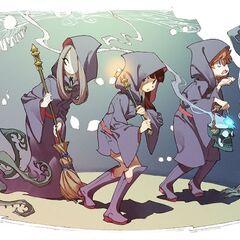 Pequeña hada de Lotte junto a ella en el póster del estreno del especial <i>Little Witch Academia</i>.