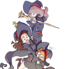 Akko junto a Sucy y Lotte en arte promocional del Blu-Ray y DVD de <i>The Enchanted Parade</i>.