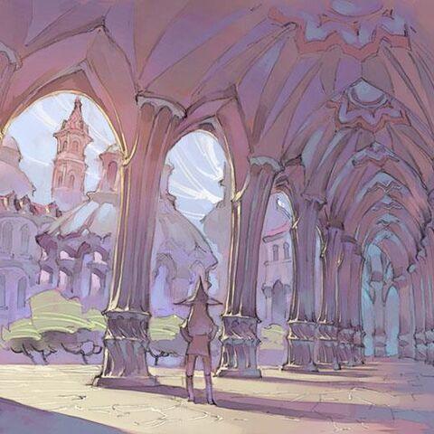 Akko en un área de la Academia Luna Nueva en una imagen del storyboard del especial <i>Little Witch Academia</i>.