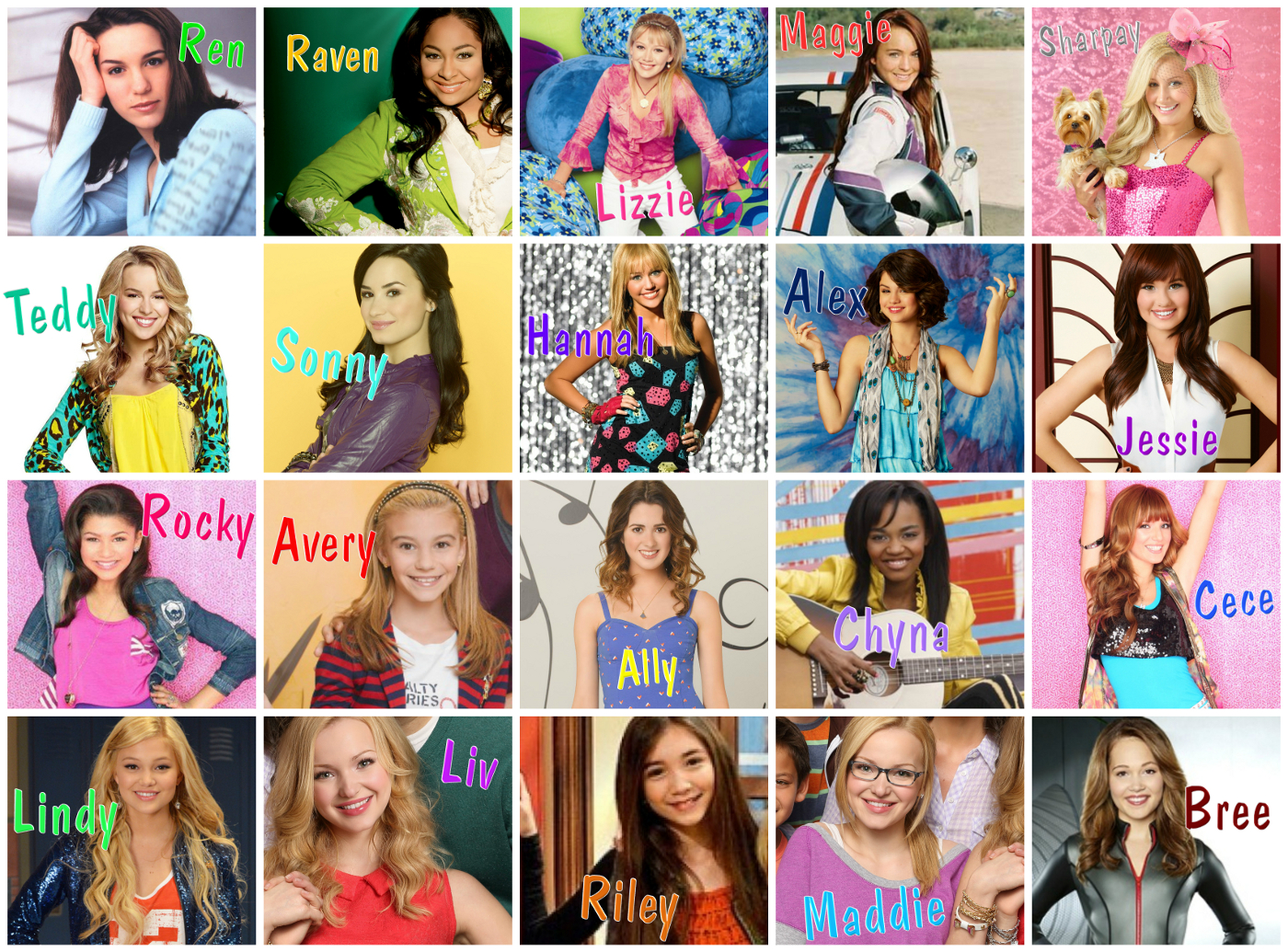 Disney channel girl character collage size jpg