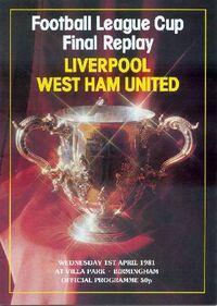 1981 League Cup final programme
