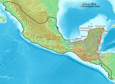 Map of the aera populated by th mayans
