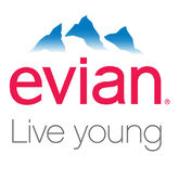 Evian logo live young white-X2