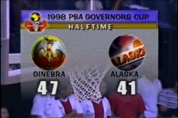 PBA on Vintage Sports scorebug 1998 Comms Cup and Govs Cup end