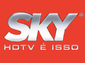 Sky 3D logo with red background