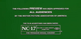 MPAA NC 17 Rating Screen Green
