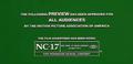 MPAA NC 17 Rating Screen Green