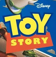 "The Toy Story (1995) logo with a off-center ""Disney"" wordmark"