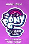 My Little Pony- Friendship is Magic logo with a pink background (as seen in a YouTube video)