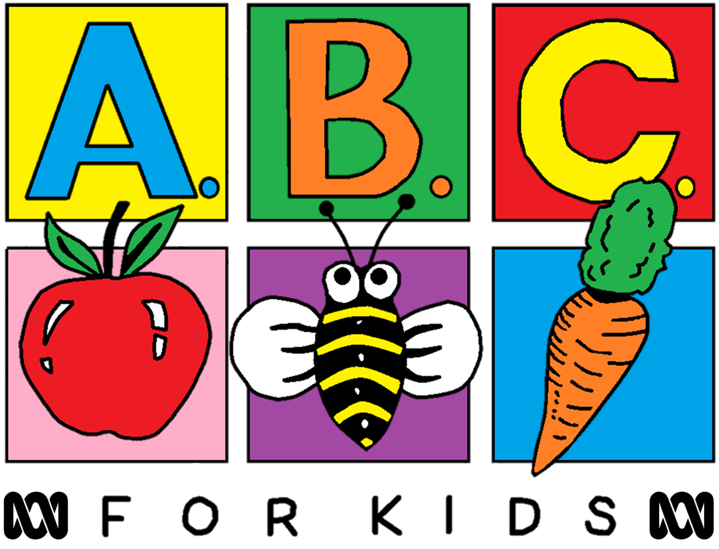 ABC Kids Was Created In 1989 As For The Logo Featured Six Blocks 3 Across And Down With Top Row Lettered A B C Bottom
