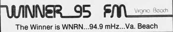 WNRN 94.9 Winner 95 1986
