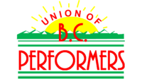 UNION OF B.C. PERFORMERS IN RED, YELLOW, and GREEN LOGO