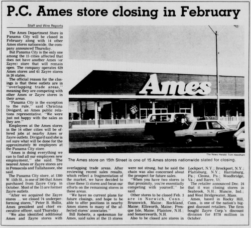 Ames - 1380 15th St. Closing -December 29, 1989-