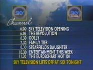 Sky Channel lineup 1989