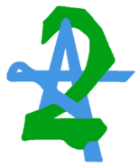 A2 logo 1975 blue a