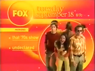 FOX URA promo - That 70s Show and Undeclared - 2001