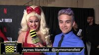 "Jaymes Mansfield on the Red Carpet of ""AJ & The Queen"" in Hollywood."