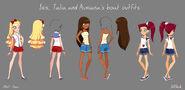 Iris, Talia and Auriana's boat outfits