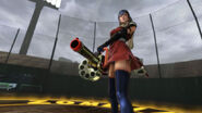 Lollipop Chainsaw Screenshot Juliet in Chifusa Manyū cosplay armed with Blaster