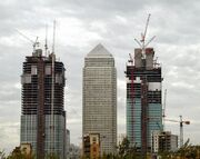 Canary Wharf construction in 2000