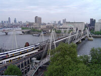 Hungerford Bridge, River Thames, London, England