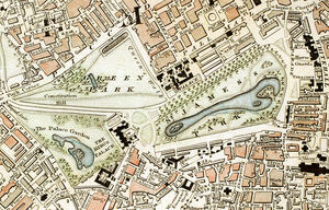 Green Park and St. James's Park London from 1833 Schmollinger map